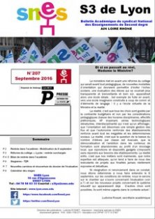 Télécharger le bulletin 207 : septembre 2016